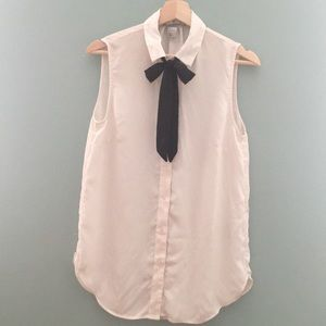 Bow-tie blouse, cream and black size 6 H&M